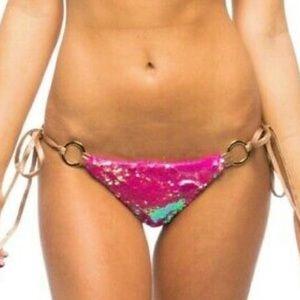 Beach Bunny Swim - Beach Bunny Bottom Pink Sequin Skimpy Tie Side XL